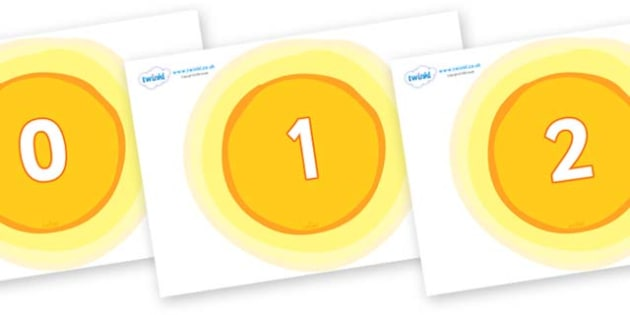 Numbers 0-31 on Glowing Suns - 0-31, foundation stage numeracy, Number recognition, Number flashcards, counting, number frieze, Display numbers, number posters