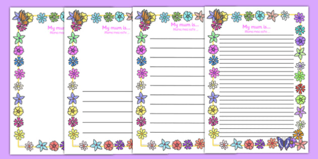 My Mum Is Page Borders Romanian Translation - romanian, Mother's day, my mum is, page border, border, writing template, writing aid, writing, Mother's day activity, Mother's day resource