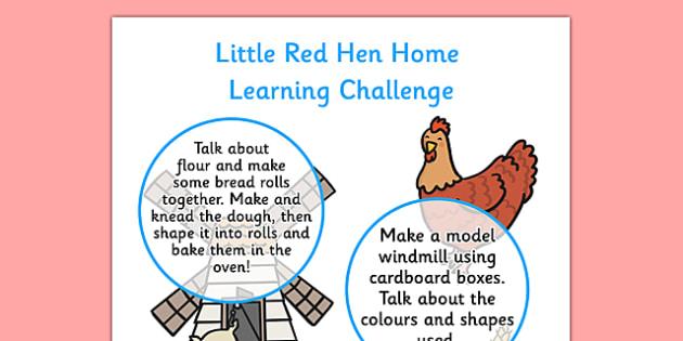 EYFS Little Red Hen Home Learning Challenge Sheet Nursery ...