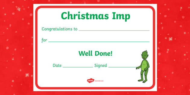 The Christmas Imp Reward Certificate - The Christmas Imp, grinch, grinch who stole christmas, christmas, green, imp, dr seuss