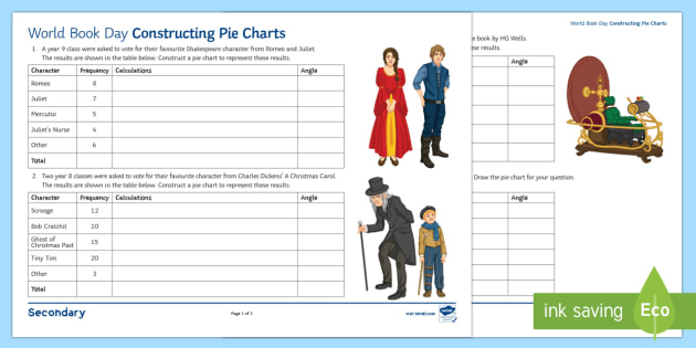 Maths World Book Day Constructing Pie Charts Activity Sheet