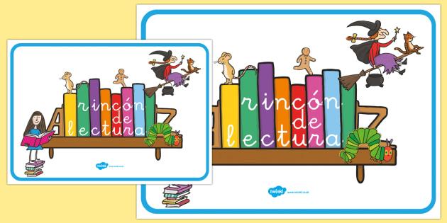 Esquina de Lectura Reading Corner Display Poster Spanish 4xA4 - spanish, reading corner, reading corner poster, reading area display, reading display poster, display posters, reading, area