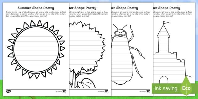 new ks1 summer shape poetry differentiated worksheets. Black Bedroom Furniture Sets. Home Design Ideas