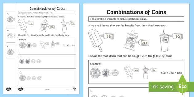 combine amounts to make a particular value worksheet activity sheet year. Black Bedroom Furniture Sets. Home Design Ideas