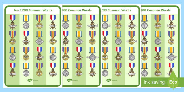 Next 200 Common Words on War Medals - Next 200 Common Words on  - DfES Letters and Sounds, Letters and Sounds, Letters and sounds words, Common words, 200 common words