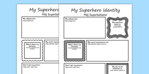 Superhero Transition Writing Frame Polish Translation - polish, superheroes, writing aid