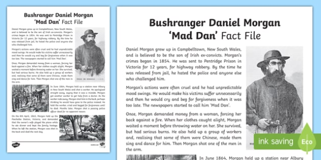 Bushranger Daniel Morgan Fact Sheet-Australia
