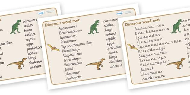 Dinosaur Word Mat (All Text Version) - Dinosaur, word mat, writing aid, dinosaurs, topic, history, t-rex, stegosaurus, raptor, iguanodon, tyrannasaurus rex