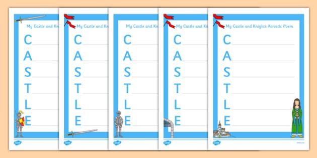 Castle Acrostic Poem - castles, castles and knights, poem, poetry