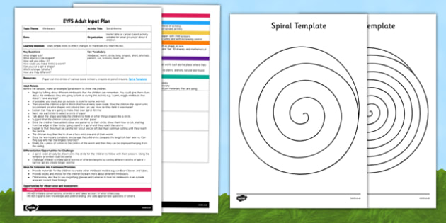 Spiral Worms EYFS Adult Input Plan and Resource Pack - lesson plan, minibeasts