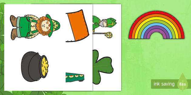 Saint Patrick's Day Threading Cut Outs - threading cards, fine motor skills, activities, junior infants, senior infants, early years, foundat