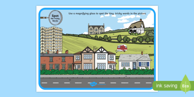 Phase 3 Tricky Words Houses and Homes Scene Magnifying Glass Poster