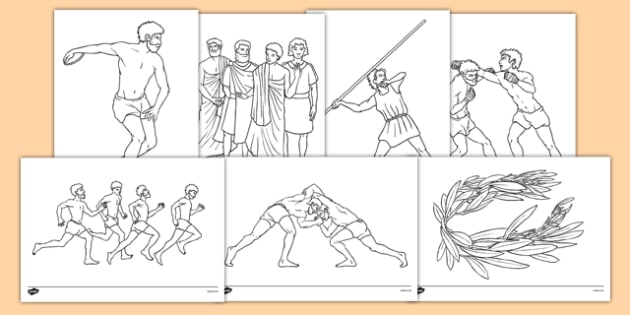Ancient Olympics Colouring Pages - ancient olympics, colouring, sheets, pages, colour, activity