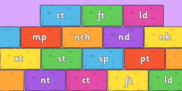 Final Letter Blends on Bricks (Multicolour) - Final Letters, final letter, letter blend, letter blends, consonant, consonants, digraph, trigraph, literacy, alphabet, letters, foundation stage literacy