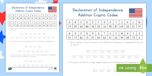 Declaration Of Independence Addition Cryptic Codes Worksheet