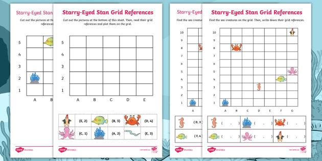 starry eyed stan grid references worksheet activity sheets. Black Bedroom Furniture Sets. Home Design Ideas