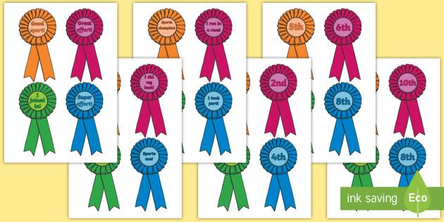 Sports Day Award Rosettes - Reward, sports day, award, rosette, certificate, medal, rewards, school reward, medal, good running, good try, sports