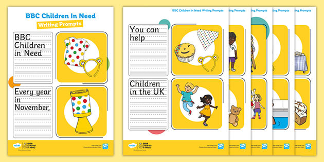 KS1 BBC Children in Need Simple Sentence Writing Prompt Pictures