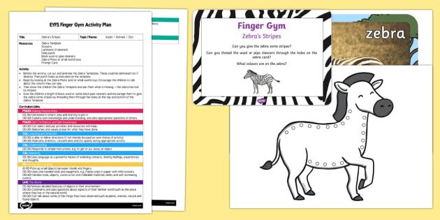 EYFS Zebra's Stripes Finger Gym Plan and Resource Pack