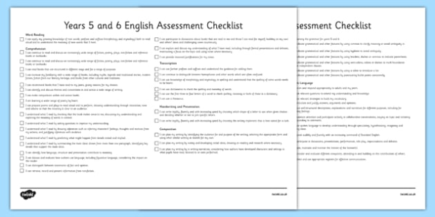 2014 Curriculum UKS2 Years 5 and 6 English Assessment Checklist