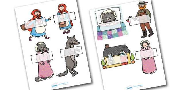 Editable Self-Registration Labels (Little Red Riding Hood) - Self registration, Little Red Riding Hood, register, editable, labels, registration, child name label, printable,  traditional tales, tale, fairy tale, Wolf, Grandma, woodcutter, bed, cotta