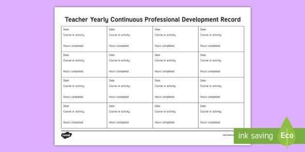 cpd certificate template - roi teacher cpd record planning template planning template