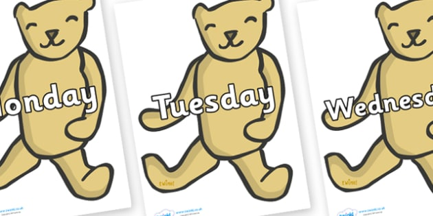 Days of the Week on Old Teddy Bears - Days of the Week, Weeks poster, week, display, poster, frieze, Days, Day, Monday, Tuesday, Wednesday, Thursday, Friday, Saturday, Sunday