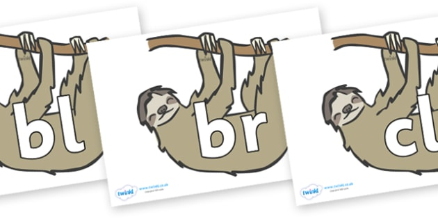 Initial Letter Blends on Sloths - Initial Letters, initial letter, letter blend, letter blends, consonant, consonants, digraph, trigraph, literacy, alphabet, letters, foundation stage literacy