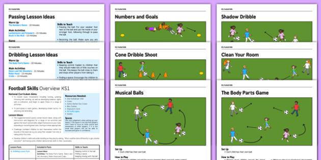 KS1 Football Skills Pack - football, PE, sport, exercise, KS1, year 1, year 2, skills, physical education, ball skills, team sports