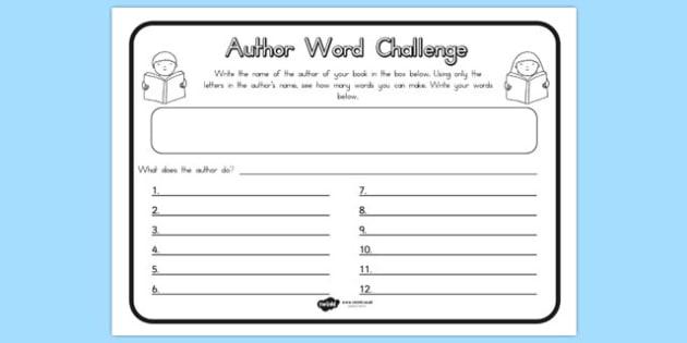 Author Word Challenge Worksheet - challenges, words, worksheets