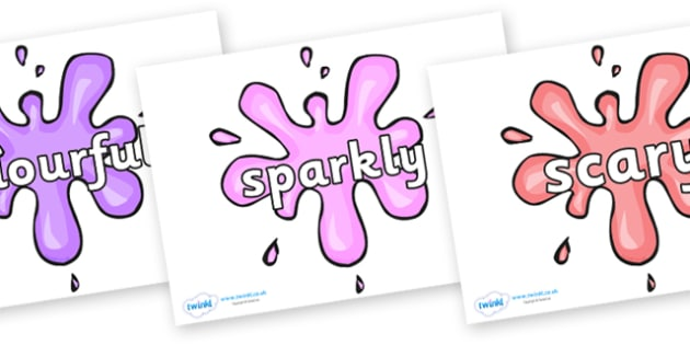 Wow Words on Splat - Wow words, adjectives, VCOP, describing, Wow, display, poster, wow display, tasty, scary, ugly, beautiful, colourful sharp, bouncy