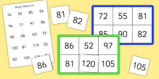 Bingo and Lotto Game 50-120 - bingo, lotto, game, 50, 120, number