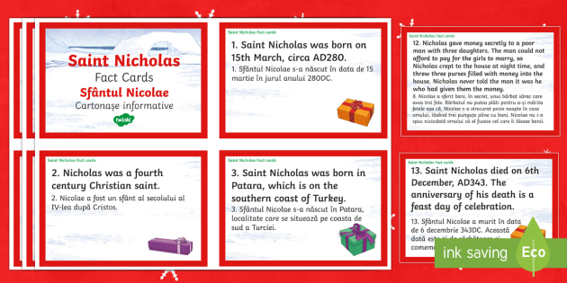 Saint Nicholas Fact Cards English/Romanian - Christmas, Nativity, Jesus, xmas, Xmas, Father Christmas, Santa, Saint Nicholas, patron saint of sai