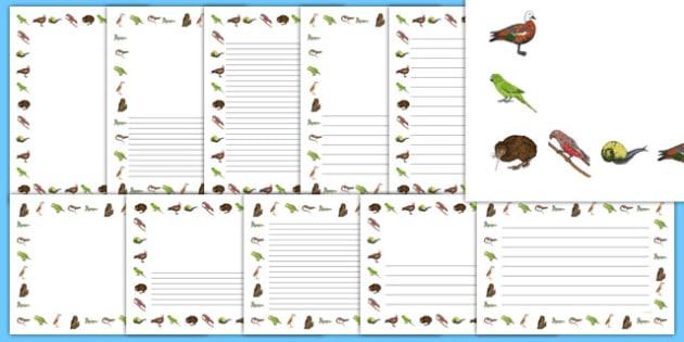 New Zealand Animal Page Borders - New Zealand Animals Display Posters, animals, New Zealand, page border, border, writing template, writing aid, writing,  kiwi, parakeet, gecko, skink, grey teal, parrot, paradise shelduck