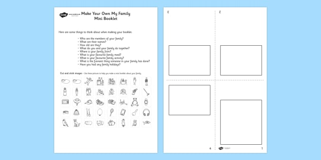 Make Your Own My Family Mini Booklet - family, booklet, design