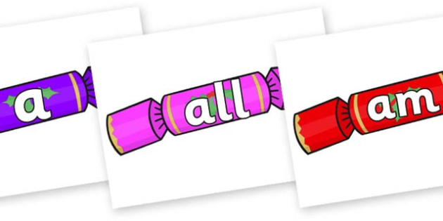 Foundation Stage 2 Keywords on Multicoloured Crackers - FS2, CLL, keywords, Communication language and literacy,  Display, Key words, high frequency words, foundation stage literacy, DfES Letters and Sounds, Letters and Sounds, spelling