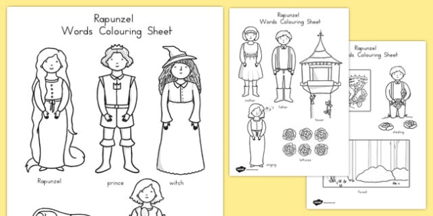 Rapunzel Words Colouring Sheet - australia, rapunzel, colouring, words