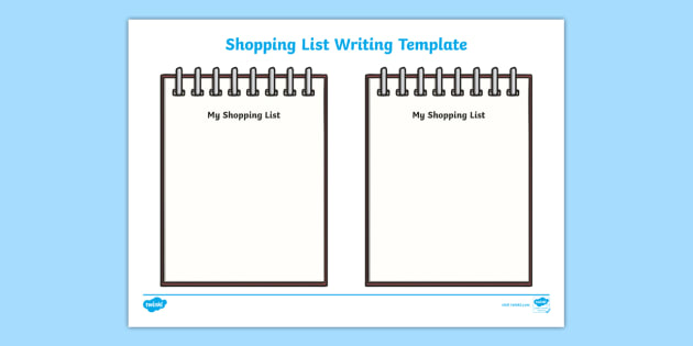 template for shopping list