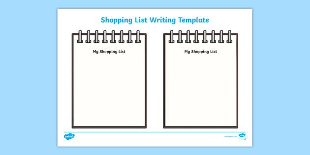 shopping list writing template blank shopping list templates