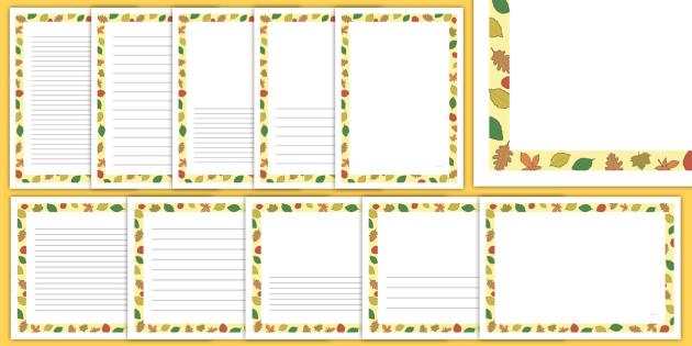 Fall Leaves Page Borders - writing templates, writing border, fall