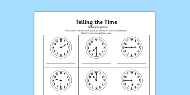 O'clock, Half Past and Quarter To Times Activity Sheet Polish Translation - polish, o'clock, half past, quarter to, times, activity, worksheet