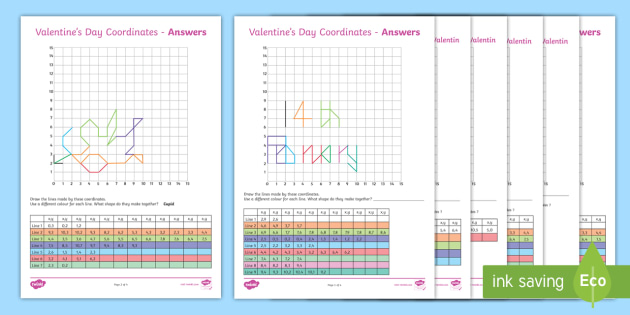 valentine 39 s day coordinates activity sheet english french. Black Bedroom Furniture Sets. Home Design Ideas