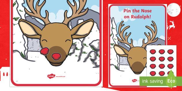 image relating to Pin the Nose on Rudolph Printable named Pin The Nose Upon Rudolph the Reindeer