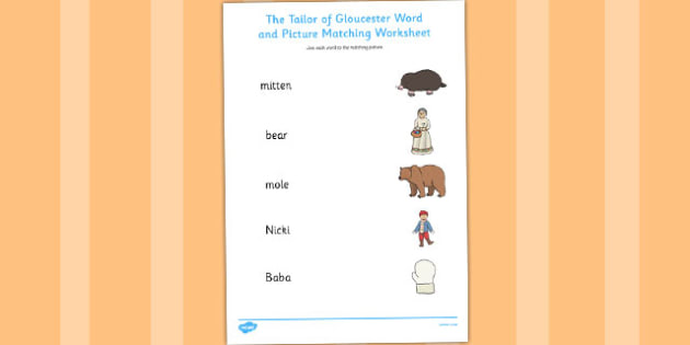 The Mitten Word and Picture Match - the mitten, word, picture
