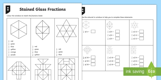 Colouring Fractions of Shapes Differentiated Activity Sheets - fraction, unit fraction, fraction of a shape, fraction of a quantity, fraction of a number, fraction