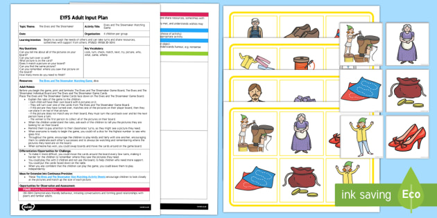 EYFS The Elves and the Shoemaker Picture Matching Game Adult Input Plan and Resource Pack - The Elves and the Shoemaker, traditional tales, Christmas, game, psed, taking turns, matching pictur
