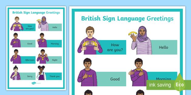 British sign language greetings a4 display poster deaf british sign language greetings a4 display poster deaf awareness week uk 2517 m4hsunfo