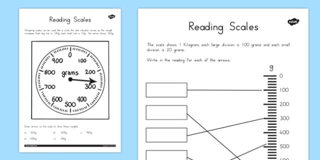 Reading Scales Worksheets - australia, reading, scales, worksheet