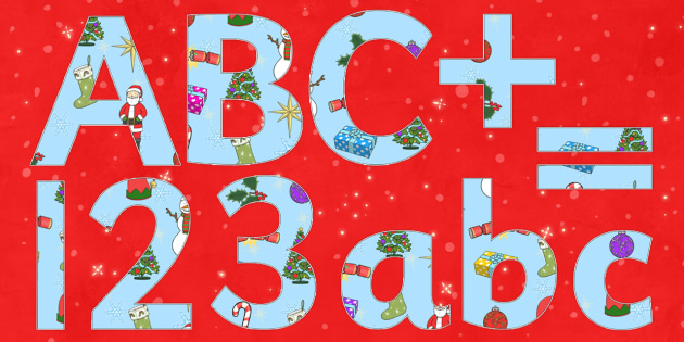 Christmas Display Lettering - Christmas, xmas, Display lettering, display letters, alphabet display, letters to cut out, letters for displays, coloured letters, coloured display, coloured alphabet, tree, advent, nativity, santa, father christmas, Jes