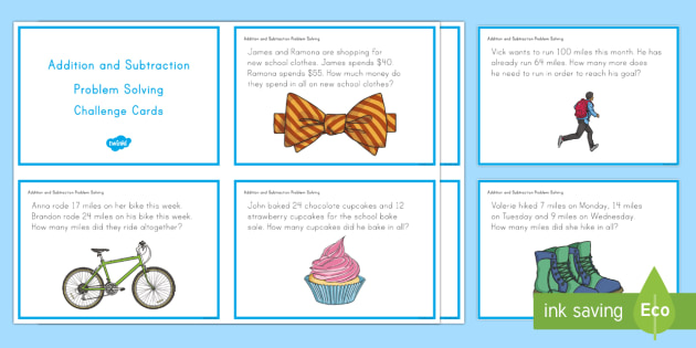 US Addition and Subtraction Problem Solving Task Cards - Common Core Second Grade Math Task Cards, CC 2.OA.A.1